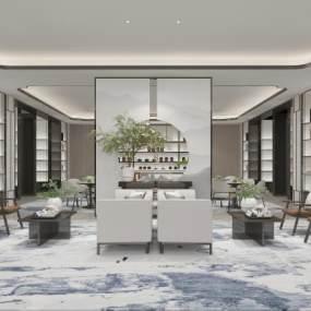 新中式售楼处接待区3D模型【ID:950037632】