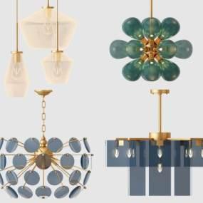 現代金屬水晶吊燈3D模型【ID:742508895】