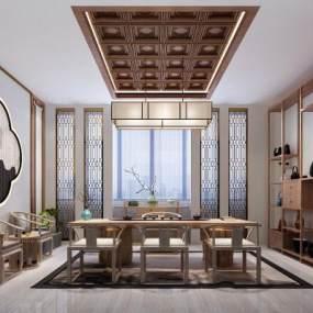 新中式茶室3D模型【ID:648354117】