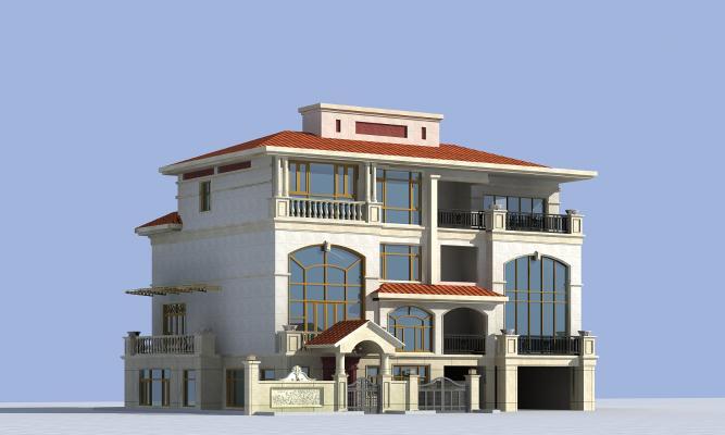 現代聯排別墅3D模型【ID:142063300】