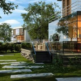 现代时尚玻璃别墅外观别墅园林3D模型【ID:132752399】