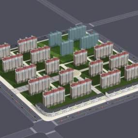 现代小区鸟瞰图有二层沿街楼3D模型【ID:132006763】