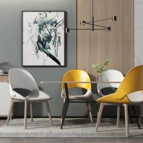 北欧餐桌椅3D模型【ID:853861835】