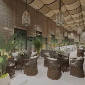 東南亞酒店大廳3D模型【ID:746363295】