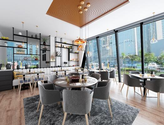 现代简约餐厅咖啡馆3D模型【ID:641660242】