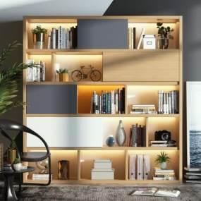 现代北欧书柜摆件组合3D模型【ID:148391520】