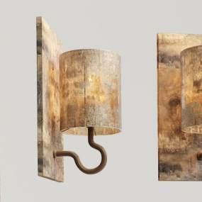 工業風實木玻璃壁燈3D模型【ID:734756972】