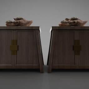 新中式风格装饰柜3D模型【ID:145672137】