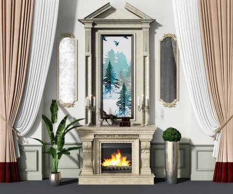 欧式壁炉背景墙3D模型【ID:344236666】