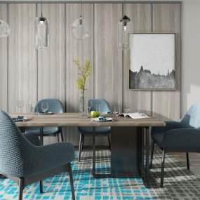 现代餐桌椅子组合3D快三追号倍投计划表【ID:734388149】