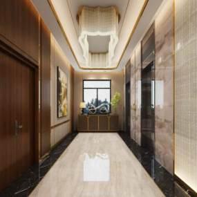 现代电梯间3D模型【ID:931091915】