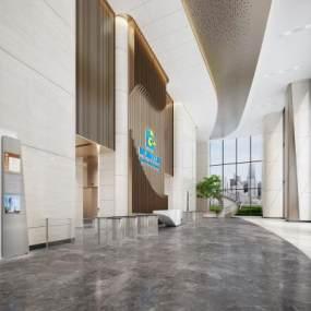 現代辦公樓大堂3D模型【ID:951784295】