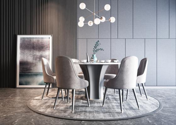 現代餐桌椅組合3D模型【ID:733739138】