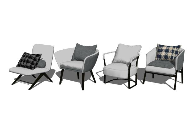 现代北欧单椅休闲椅组合SU模型【ID:947632407】
