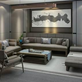 新中式沙发组合3D模型【ID:633352787】