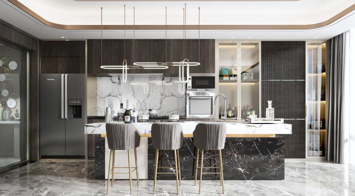 现代开放式厨房3D模型【ID:547191340】