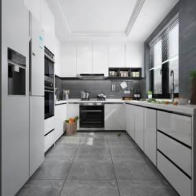 现代厨房3D模型【ID:542401339】