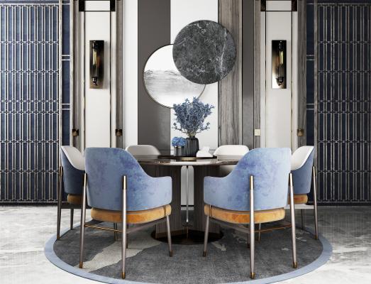 現代餐桌椅組合3D模型【ID:748850111】