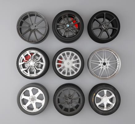 现代汽车轮胎轮毂3D模型【ID:433365793】