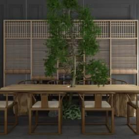 新中式休閑泡茶桌椅卷簾窗簾竹簾樹擺件組合 3D模型【ID:841887946】