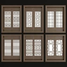 中式实木花格镂花窗组合3D模型【ID:331297292】