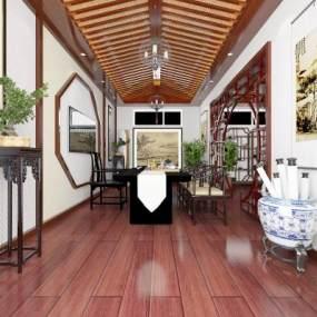 中式茶室3D模型【ID:942957350】