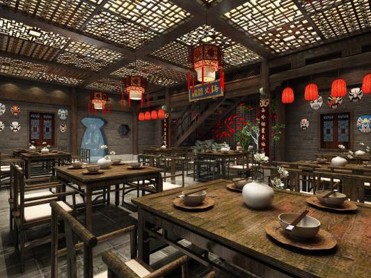 中式火鍋餐廳3D模型【ID:645483571】