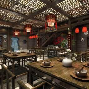 中式火锅餐厅3D模型【ID:645483571】