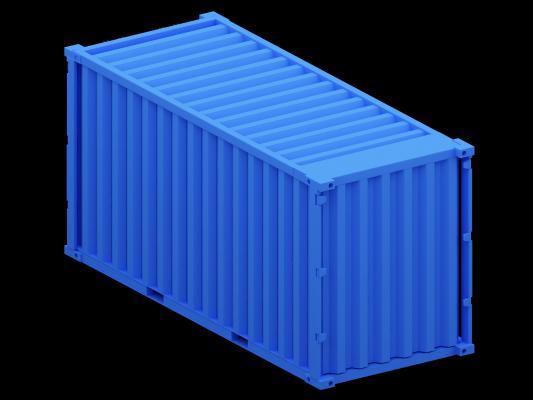 蓝色集装箱3D模型【ID:441299545】