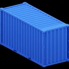 蓝色集装箱 3D模型【ID:441299545】