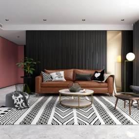 现代客厅沙发茶几组合3D模型【ID:530433063】