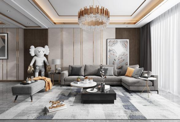 現代輕奢客廳3D模型【ID:548021072】