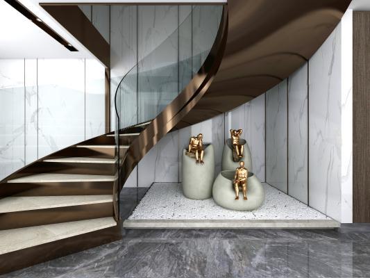 现代轻奢楼梯间3D模型【ID:746717621】