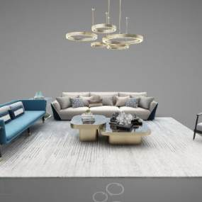 新中式风格组合沙发3D模型【ID:643713786】