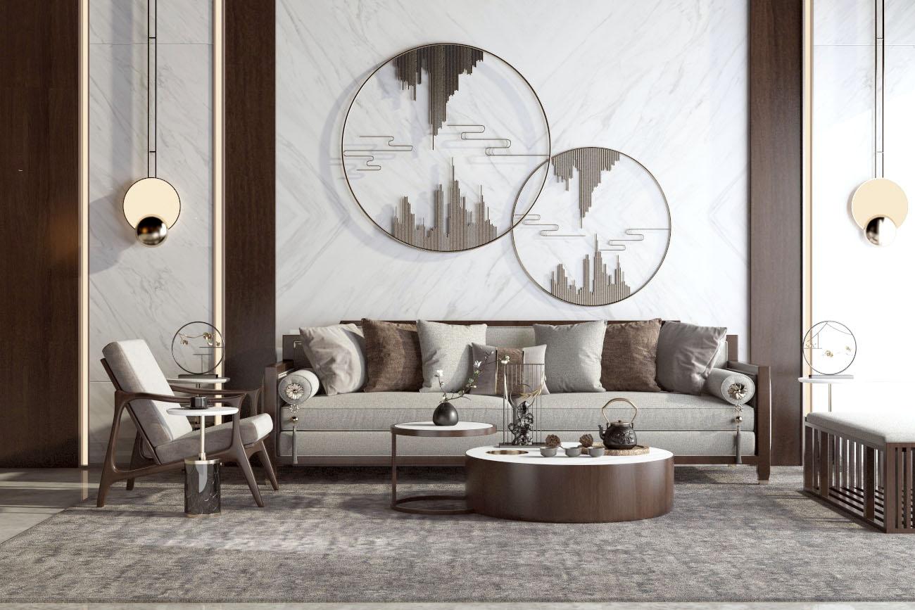 新中式沙发茶几组合SU模型【ID:453959191】