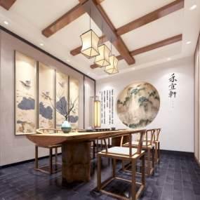 新中式茶室 3D模型【ID:636204620】
