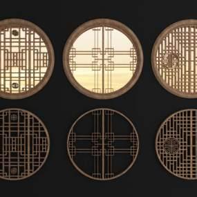 中式圆形花格镂花窗组合3D模型【ID:331764296】