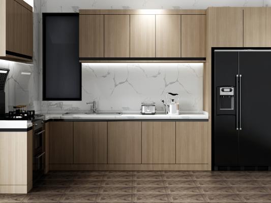 现代厨房壁柜3D模型【ID:144744787】