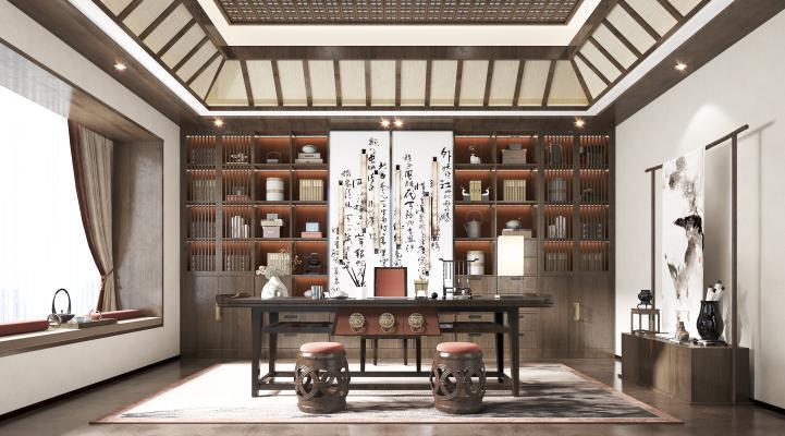 新中式書房3D模型【ID:550091443】