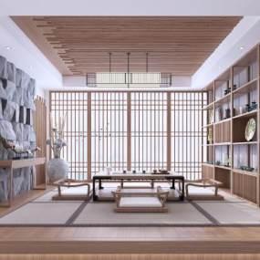 日式榻榻米茶室 3D模型【ID:642251187】