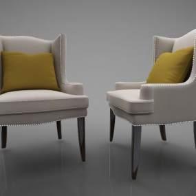 美式单人沙发 3D模型【ID:642121454】