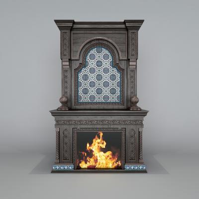 美式电子壁炉3D模型【ID:346100674】