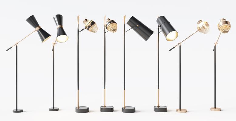 現代金屬落地燈組合3D模型【ID:853012249】