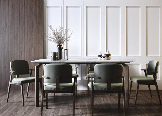 現代北歐餐桌椅組合3D模型【ID:852341852】