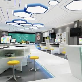 现代科技馆教室3D模型【ID:935940601】