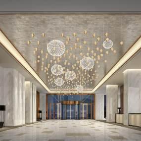 新中式酒店大堂3D模型【ID:753485036】