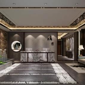 新中式会所大厅3D模型【ID:735852500】