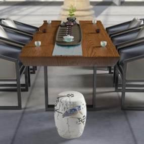 新中式茶桌3D模型【ID:731794703】