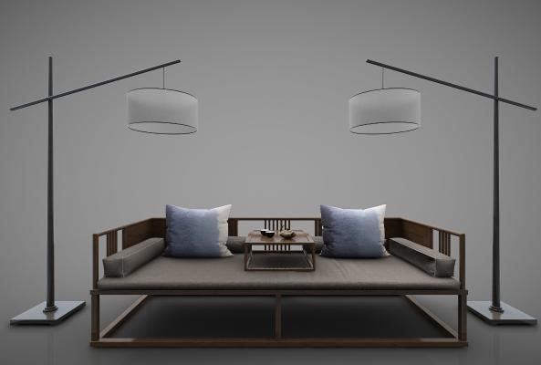 新中式风格沙发3D模型【ID:644311639】