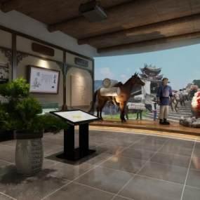 茶文化展馆中式花格马匹硅胶古人3D模型【ID:932208759】